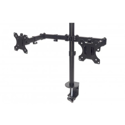 """Manhattan Monitor Desk Mount (clamp), 2 screens, 10-27"""", Vesa 75x75 to 100x100mm, 3 pivots, Height Up to ....."""