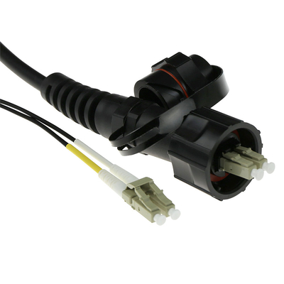 ACT 2 meter multimode 50/125 OM3 duplex fiber patch kabel met LC en IP67 LC connectoren Fiber optic kabel
