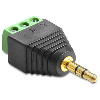 DeLOCK Adapter Stereo jack male 3.5 mm > Terminal Block 3 pin Kabel adapter - Zwart,Groen,Zilver