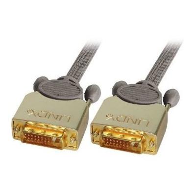 Lindy DVI kabel : 0.5m Premium Gold DVI-D Dual Link Cable - Grijs