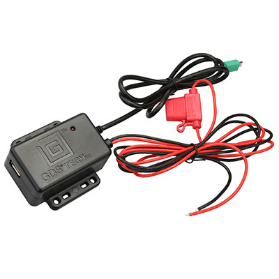 RAM Mounts GDS Hardwire Charger with mUSB Plug and Type-A Port Oplader - Zwart,Rood