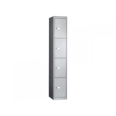 Bisley archiefkast: Kledingkast 4 deur 1 plank+haak zilvergs