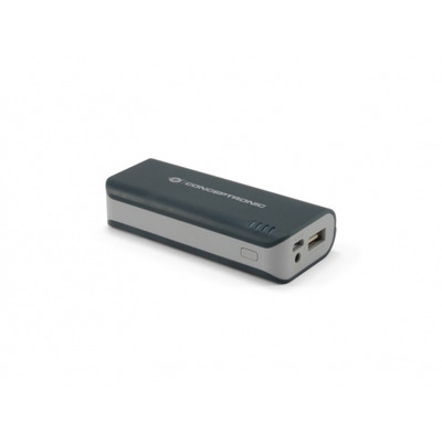 Conceptronic 4400 mAh, 1xUSB, 95 x 43 x 22 mm, 130 g Powerbank - Zwart,Grijs