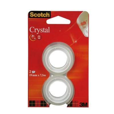 Scotch ® Crystal ft 19 mm x 7,5 m, blister met 2 rolletjes Plakband - Rood, Wit