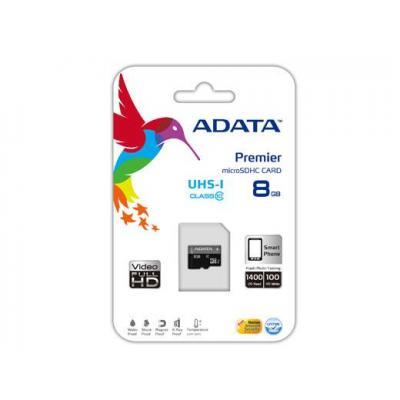 Adata flashgeheugen: Premier microSDHC UHS-I U1 Class10 8GB - Zwart, Grijs