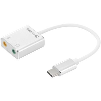Sandberg USB-C to Sound Link Geluidskaart - Zilver,Wit