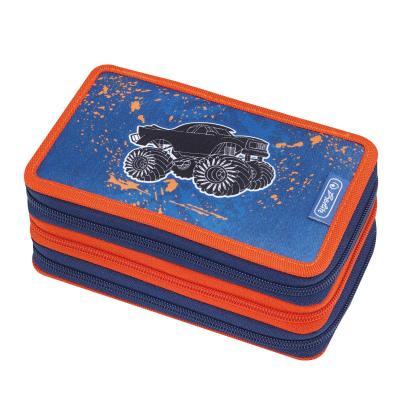 Herlitz potlood case: Monster Truck - Zwart, Blauw, Oranje
