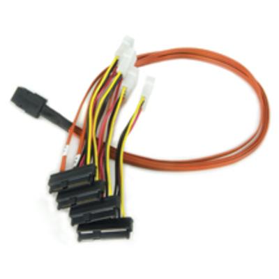 Broadcom 0.6 meter Multi-lane Internal (SFF-8087) SAS/SATA breakout cable, forward, 4x (SFF-8482) w/ pwr (QTY .....