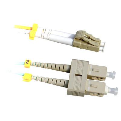 Lanview 2 x LC - 2x SC Multimode fibre cable, OM3, 50 / 125 µm, Aqua, 3 m Fiber optic kabel - Aqua-kleur