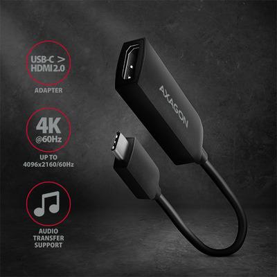 Axagon RVC-HI2 USB-C > HDMI 2.0 adapter - Zwart