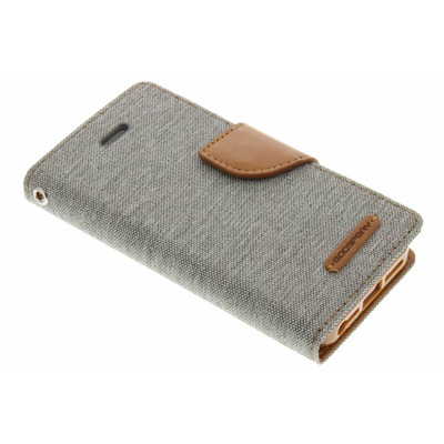 Canvas Diary Booktype iPhone SE / 5 / 5s - Grijs / Grey Mobile phone case