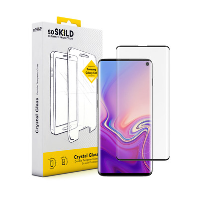 SoSkild Samsung Galaxy S10 Crystal Double Tempered Glass Black Screen protector - Zwart,Transparant