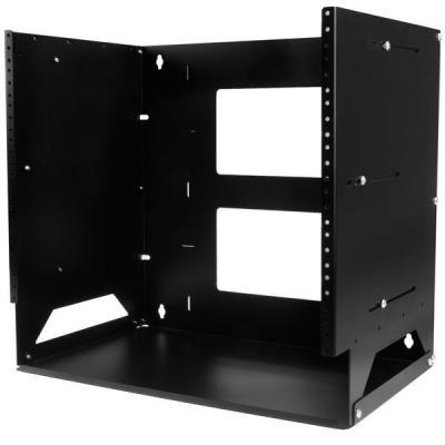 Startech.com rack: Wand monteerbaar server rack ingebouwd schap wandkast massief staal 8U - Zwart