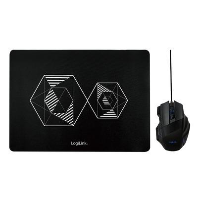 LogiLink Gaming combo set (mouse and mousepad) Muis - Zwart
