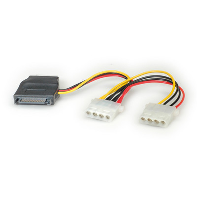 ROLINE stroom Y-Adapterkabel 3x 4 pol. / 1x SATA - Zwart, Rood, Wit, Geel