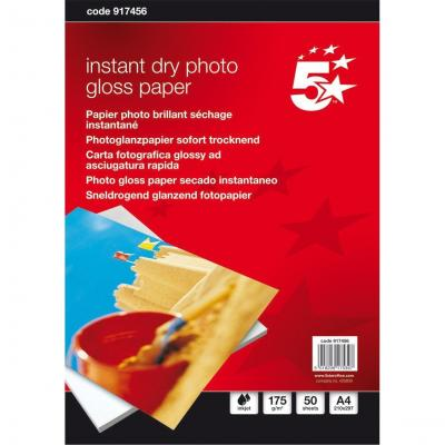 5star fotopapier: Photo Inkjet Paper Gloss, 175gsm, A4, White, 50 sheets - Wit