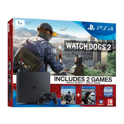 Sony spelcomputer: PlayStation 4, Console + 1 TB + Watch Dogs 1 + Watch Dogs 2  PS4