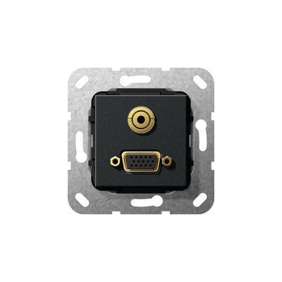 GIRA Basiselement VGA 15-polig en mini-jack 3.5 mm Verloopkabel, zwart mat Wandcontactdoos