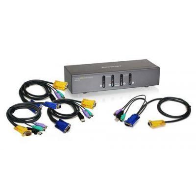 Iogear 4 Port, VGA, PS2, USB KVM switch - Zwart