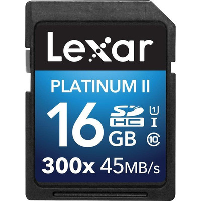 Lexar flashgeheugen: 16GB Platinum II SDHC UHS-I - Multi kleuren
