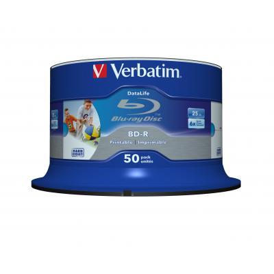 Verbatim BD-R SL Datalife 25GB 6x Wide Inkjet Printable 50 Pack Spindle BD