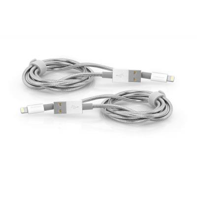Verbatim Lightning - USB Stainless Steel Sync & Charge Cable 100 cm, Silver, 2 Pack - Roestvrijstaal, Wit