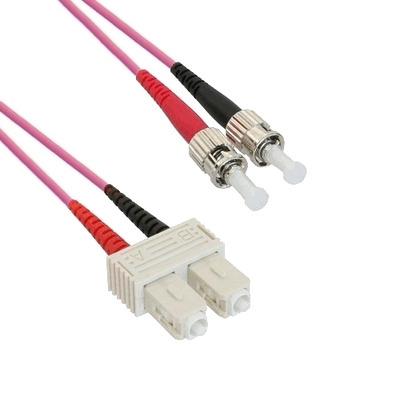 EECONN Glasvezel Patchkabel, 50/125 (OM4), SC - ST, Duplex, 1.5m Fiber optic kabel - Violet
