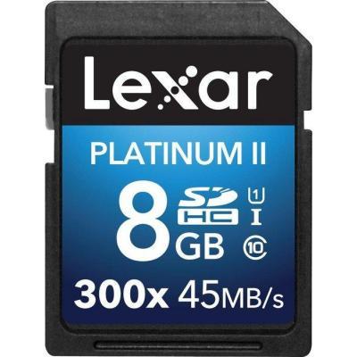 Lexar flashgeheugen: 8GB Platinum II SDHC UHS-I - Multi kleuren
