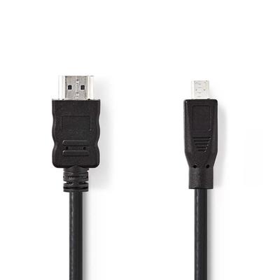 Nedis High Speed HDMI™-kabel met Ethernet, HDMI™-connector - HDMI™-micro-connector, 2.0 m, Zwart