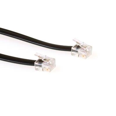 ACT Modular telephone cable RJ-12/RJ-12 Telefoon kabel - Zwart