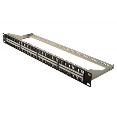 Assmann electronic patch panel: Modular, shielded, 48-port, Label field, 1U, black - Zwart