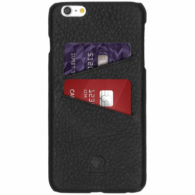 Leather Backcover iPhone 6(s) Plus - Zwart / Black Mobile phone case