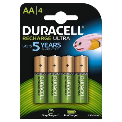 Duracell batterij: Recharge Ultra AA-batterijen, verpakking van 4 - Multi kleuren
