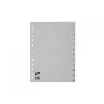 Staples schutkaart: Tabblad SPLS A4 11r 1-12 pp grijs/set 12