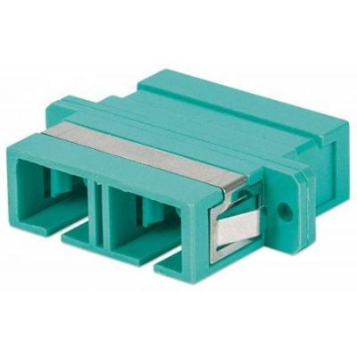Intellinet fiber optic adapter: SC Adapter, OM3 Multimode Duplex, Zirconia Sleeve, Aqua - Turkoois