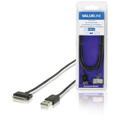 Valueline Sync & charge-voor iPad / iPhone / iPod Apple 30-pins - USB 2.0 A mannelijk zwart 2,00 m Kabel