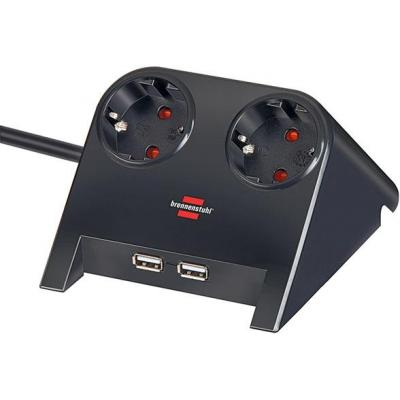 Brennenstuhl power extrention: Desktop-Power USB-Charger with 2x USB-2.0 charger 2100mA 2-way socket, black polished .....