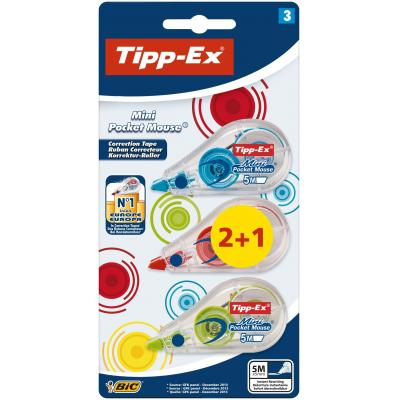 Tipp-ex film/tape correctie: correctieroller Mini Pocket Mouse Fashion, blister 2 + 1 gratis - Transparant