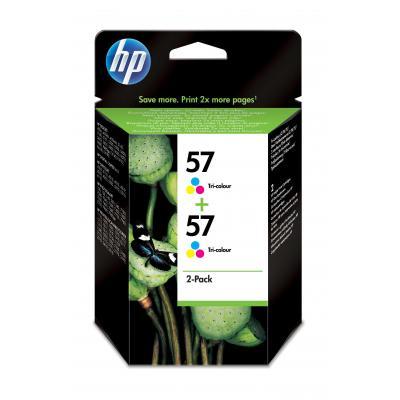HP inktcartridge: 57 originele drie-kleuren inktcartridges, 2-pack - Cyaan, Magenta, Geel
