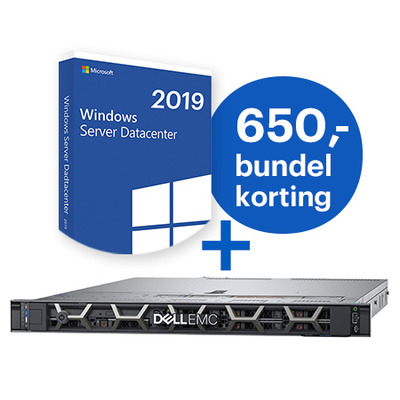 DELL PowerEdge R440 + Microsoft Windows 2019 Datacenter bundel Server - Zwart