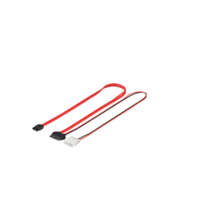 Microconnect Slim/Mini SATA to SATA + Power, 0.25 m ATA kabel - Zwart, Rood
