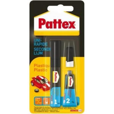 Pattex lijm: Secondelijm Plastics - Zwart, Blauw
