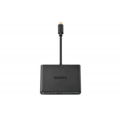 Sitecom hub: CN-365 USB-C to USB + HDMI + USB-C 3-in-1 Adapter - Zwart
