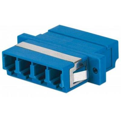 Intellinet LC Adapter, Single Mode 4 Cores, Zirconia Sleeve, Blue Fiber optic adapter - Blauw
