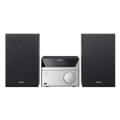 Sony home stereo set: 12W, 8cm, Mega Bass, NFC, Bluetooth, Walkman, USB, FM/AM - Zwart, Zilver