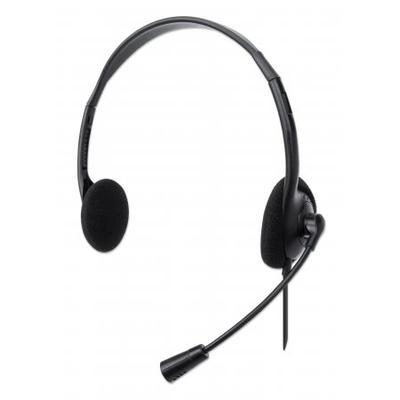 Manhattan Stereo USB, Lightweight Over-Ear design, Adjustable microphone, USB-A plug, Black, Boxed Headset - .....