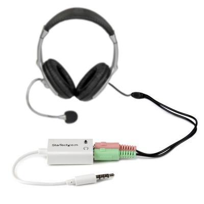 Startech.com kabel adapter: Witte headsetadapter voor headsets met aparte koptelefoon-/microfoonstekkers 3,5 mm .....