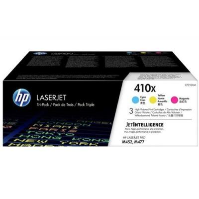 HP toner: 410X 3-pack kleur voor o.a voor LaserJet Pro M452 & M477 - Cyaan, Magenta, Geel