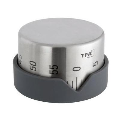 Tfa wekker: Kitchen Timer, Stainless Steel/Grey - Grijs, Roestvrijstaal