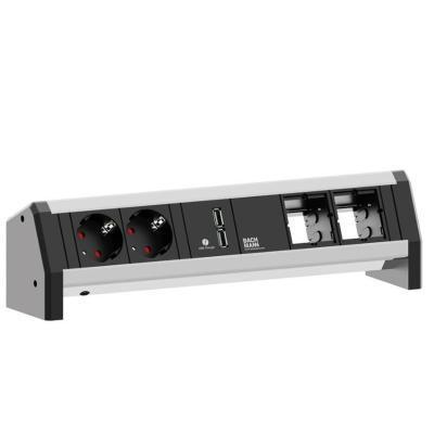 Bachmann power extrention: DESK 1 1x USB Charge 2x Steckdose 2x Custom Modul - Zwart, Grijs